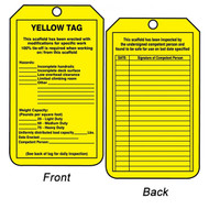 A photograph of front and back of a yellow 12264 weight capacity, hazard, and inspection record scaffold safety status tag.