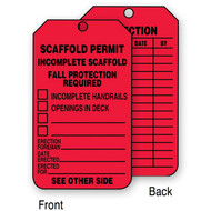 A photograph of a red 12265 incomplete scaffold, scaffold permit tag.