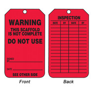A photograph of front and back of a red 12266 warning this scaffold is not complete do not use, scaffold permit tag.