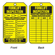 A photograph of front and back of a yellow 12286 forklift inspection tag.