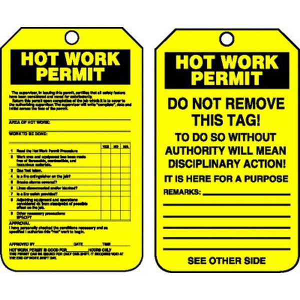 Confined Space Hot Work Permit Tags