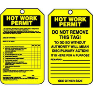 A photograph of front and back of a yellow 12270 confined space hot work permit tag.