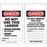 A photograph of front and back of a 12290 danger do not use this ladder tag.