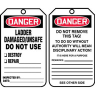 A photograph of front and back of a 12291 danger ladder damaged/unsafe do not use ladder tags.