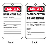 A photograph of front and back of a 12272 danger barricade tag.