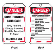 A photograph of front and back of a 12273 danger construction barricade tag with checklist.