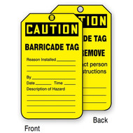 A photograph of front and back of a yellow 12274 caution barricade tag.