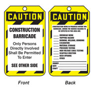 A photograph of front and back of a 12275 caution construction barricade tag with checklist.