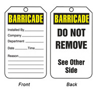 A photograph of front and back of a white and yellow 12276 barricade tag reading do not remove.