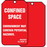A photograph of front and a back of a red 12280 NIOSH class A environment may contain potential hazards, confined space tag.