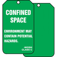 A photograph of front and back of a green 12281 NIOSH class C environment may contain potential hazards, confined space tag.