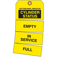 A photograph of a 01582-x brady cylinder status tags, triple indicator tear-off, yellow, 25 tags/pkg.