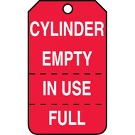 A photograph of a red 12294 cylinder status tags, with triple indicator tear-off reading cylinder empty, in use, full.