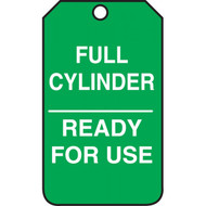 A photograph of a green 12295 cylinder status tag, reading full cylinder, ready for use.