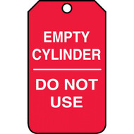 A photograph of a red 12296 cylinder status tags, reading empty cylinder, do not use.