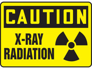 A photograph of a 01601 caution x-ray radiation osha signs w/ radiation symbol.