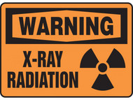 A photograph of a 01602 warning x-ray radiation osha signs w/ radiation symbol.