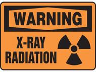 A photograph of a 01602 warning x-ray radiation OSHA sign with radiation symbol.