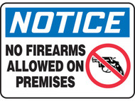 NOTICE No Firearms Allowed On Premises OSHA Signs w/ Handgun Icon