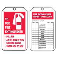 A photograph of front and back of a 09381 fire extinguisher p.a.s.s. tag w/ inspection record.