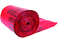 A photograph of a roll of red 02135 biohazard waste can liners, with 100 per package.