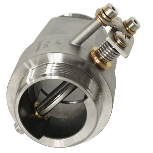 An oblique view of the damper showing the actuating mechanism and inner door.