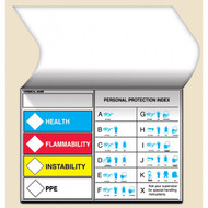 Illustration of the Self-Laminating HCMIS Labels with Protective Equipment Index.
