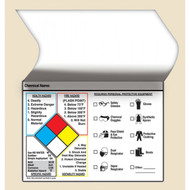 An illustration of a 01242 self-laminating NFPA label with personal protective equipment (PPE) index, and 25 per package.