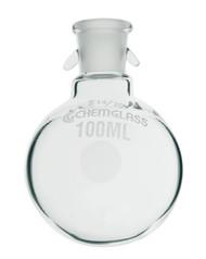 Flask, Round Bottom, Heavy Wall, Single Neck w/ Hooks