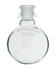 A photograph of a CG-1507-11 100 mL round bottom flask with  a 14/20 joint bearing hooks.