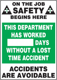 A photograph of a 06301 this department has worked __ days without a lost time accident write-a-day dry erase safety scoreboards.