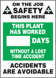 A photograph of a 06303 this plant has worked __ days without a lost time accident write-a-day dry erase safety scoreboards.
