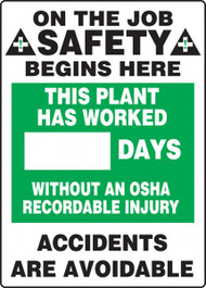 A photograph of a 06305 this plant has worked __ days without an osha recordable injury write-a-day dry erase safety scoreboards.