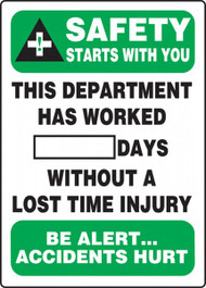 This Department Has Worked __ Days Without A Lost Time Injury Write-A-Day Dry Erase Safety Scoreboards