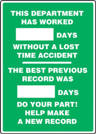 This Department Has Worked _ Days...Previous Record 2-Field  Write-A-Day Dry Erase Safety Scoreboards