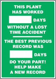 This Plant Has Worked _ Days Without A Lost Time Accident 2-Field  Write-A-Day Dry Erase Safety Scoreboards