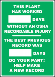 A photograph of a 06309 this plant has worked _ days without an osha recordable injury 2-field write-a-day dry erase safety scoreboards.