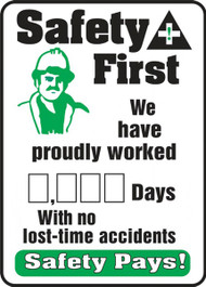 A photograph of a 06310 safety first. we have proudly worked __ days with no lost-time accidents write-a-day dry erase safety scoreboards.