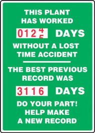 A photograph of a 06314 this plant has worked _ days without a lost time accident 2-field turn-a-day dial safety scoreboard.