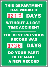 A photograph of a 06315 this department has worked _ days without a lost time accident 2-field turn-a-day dial safety scoreboard.