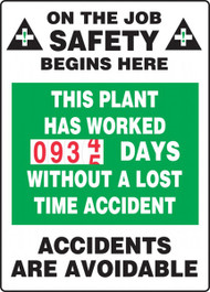 A photograph of a 06316 this plant has worked __ days without a lost time accident turn-a-day dry erase safety scoreboards.