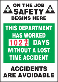 A photograph of a 06317 this department has worked __ days without a lost time accident turn-a-day dry erase safety scoreboards.