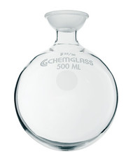 A photograph of a CG-1508-33 500 mL round bottom flask with a 35/20 spherical socket joint.
