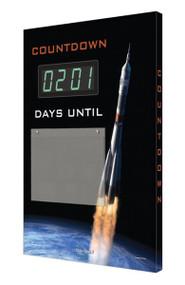 A photograph of a 06215 countdown digi-day® 3 electronic scoreboard: days until w/ rocket.