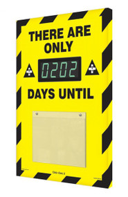 A photograph of a 06216 countdown digi-day® 3 electronic scoreboard: there are only ____ days until, black/yellow.