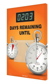 A photograph of a 06217 countdown digi-day® 3 electronic scoreboard: ____ days remaining until w/ stopwatch.