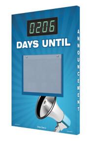 A photograph of a 06219 countdown digi-day® 3 electronic scoreboard: ____ days until, w/megaphone.