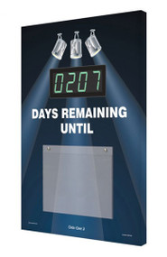 A photograph of a 06220 countdown digi-day® 3 electronic scoreboard: ____ days remaining until, w/spotlights.