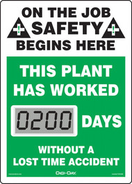 Mini Digi-Day® Safety Scoreboard: This Plant Has Worked ____ Days Without A Lost Time Accident