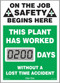 A photograph of a 06230 mini digi-day® safety scoreboard: this plant has worked ____ days without a lost time accident.